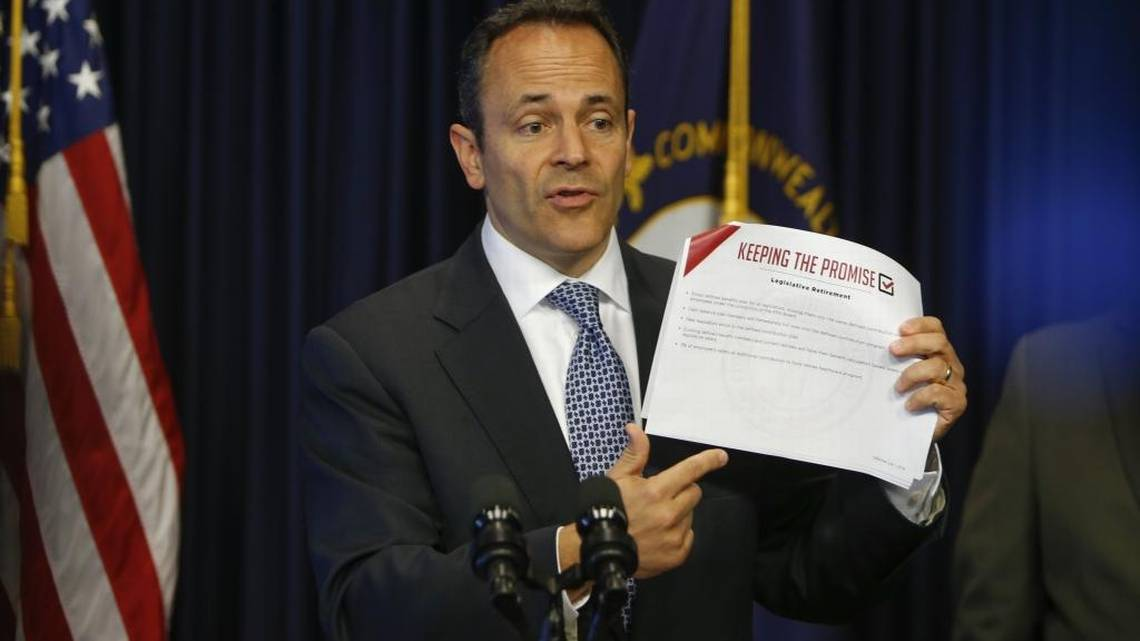 bevin, holding keeping the promise plan at press conference