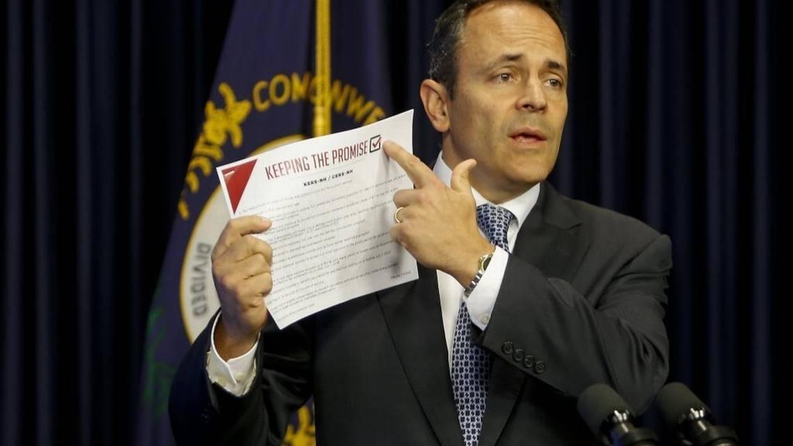 Matt Bevin pointing at his pension reform plan