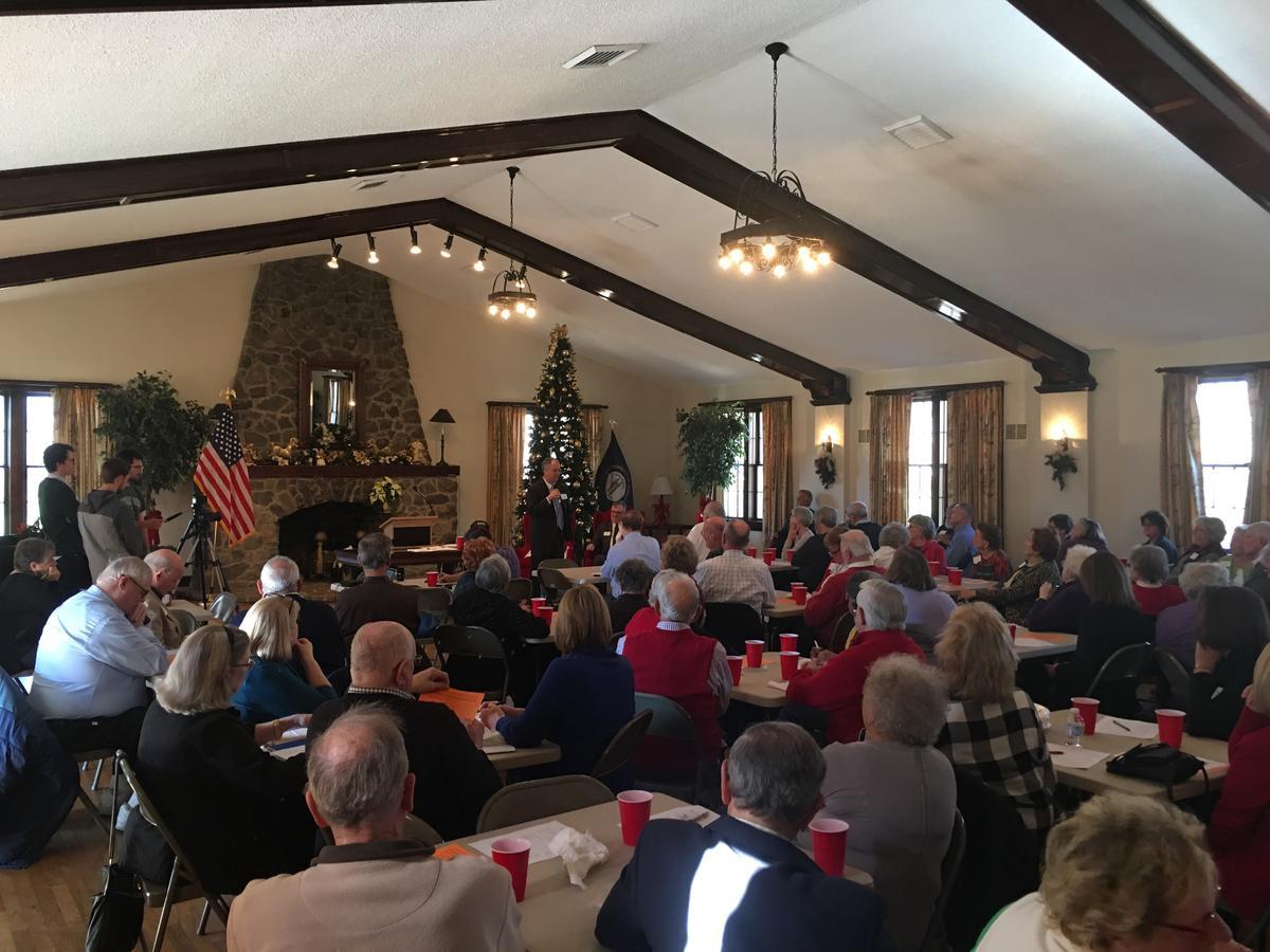 KRTA Exec. Director Tim Abrams addresses members of the Calloway County Retired Teachers Association CREDIT MATT MARKGRAF, WKMS